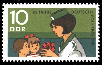10 Pf Briefmarke: 25 Jahre Deutsche Volkspolizei