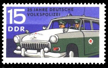 15 Pf Briefmarke: 25 Jahre Deutsche Volkspolizei