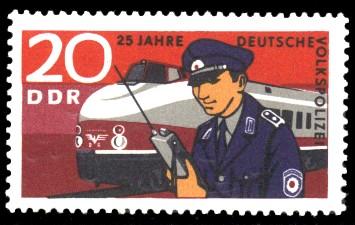 20 Pf Briefmarke: 25 Jahre Deutsche Volkspolizei