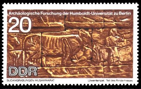 20 Pf Briefmarke: Archäologische Forschung, Sudangrabungen Musawwarat