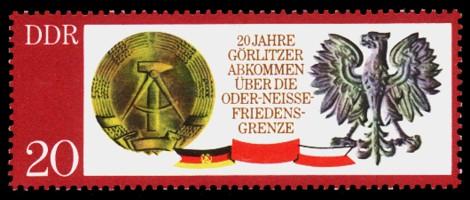 20 Pf Briefmarke: 20 Jahre Oder-Neiße-Friedensgrenze