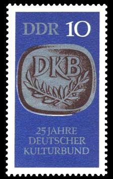 10 Pf Briefmarke: 25 Jahre Deutscher Kulturbund