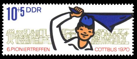 10 + 5 Pf Briefmarke: VI. Pioniertreffen