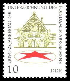 10 Pf Briefmarke: 25 Jahre Potsdamer Abkommen