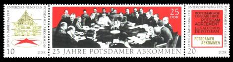 Briefmarke: Dreierstreifen - 25 Jahre Potsdamer Abkommen