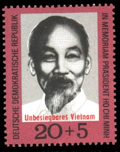 20 + 5 Pf Briefmarke: Unbesiegbares Vietnam, Präsident Ho Chi Minh
