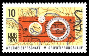 10 Pf Briefmarke: Weltmeisterschaften im Orientierungslauf