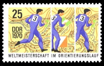 25 Pf Briefmarke: Weltmeisterschaften im Orientierungslauf