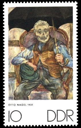 10 Pf Briefmarke: Zum Gedenken an K.Kollwitz, E.Barlach und O.Nagel