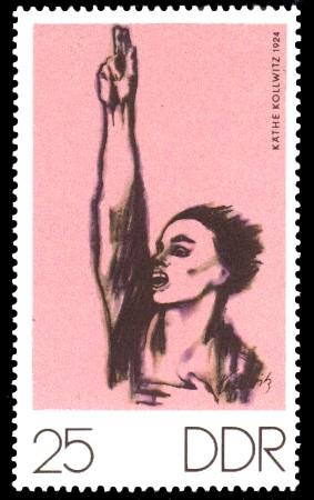 25 Pf Briefmarke: Zum Gedenken an K.Kollwitz, E.Barlach und O.Nagel