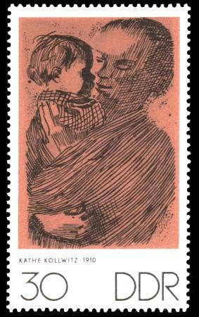 30 Pf Briefmarke: Zum Gedenken an K.Kollwitz, E.Barlach und O.Nagel