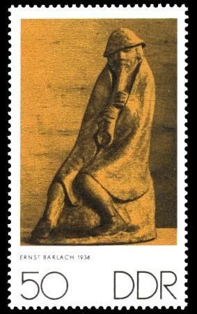 50 Pf Briefmarke: Zum Gedenken an K.Kollwitz, E.Barlach und O.Nagel