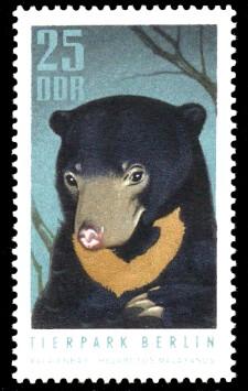 25 Pf Briefmarke: Tierpark Berlin, Malaienbär