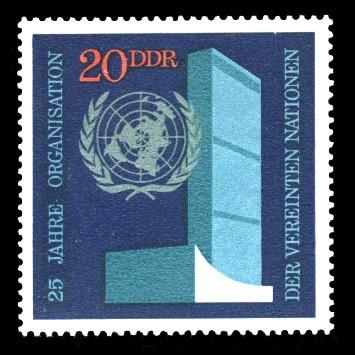 20 Pf Briefmarke: 25 Jahre Vereinte Nationen, UNO