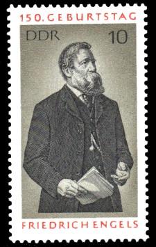 10 Pf Briefmarke: 150. Geburtstag Friedrich Engels