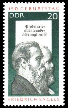 20 Pf Briefmarke: 150. Geburtstag Friedrich Engels