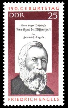 25 Pf Briefmarke: 150. Geburtstag Friedrich Engels