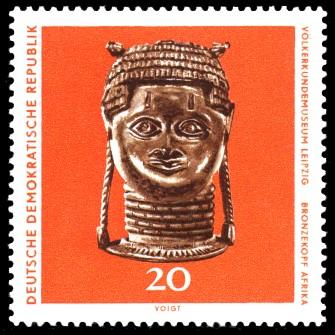 20 Pf Briefmarke: Völkerkundemuseum Leipzig, Bronzekopf
