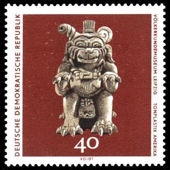 40 Pf Briefmarke: Völkerkundemuseum Leipzig, Tonplastik