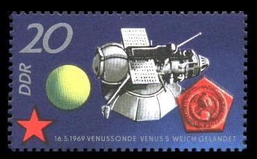20 Pf Briefmarke: 10 Jahre sowjetischer Raumflug, Venus 5