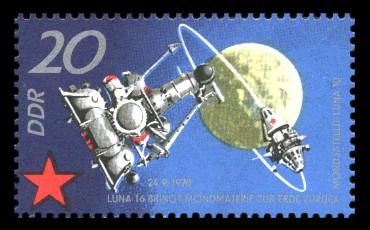 20 Pf Briefmarke: 10 Jahre sowjetischer Raumflug, Luna 16