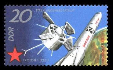20 Pf Briefmarke: 10 Jahre sowjetischer Raumflug, Proton 1