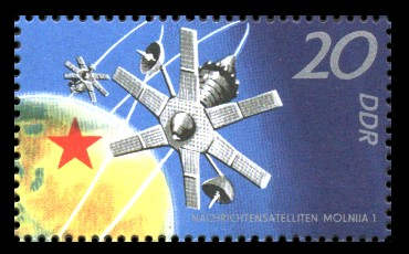 20 Pf Briefmarke: 10 Jahre sowjetischer Raumflug, Molnija 1