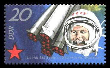 20 Pf Briefmarke: 10 Jahre sowjetischer Raumflug, Gagarin