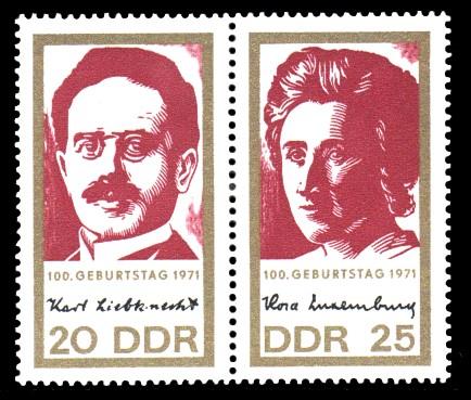 Briefmarke: Zusammendruck: 100. Geburtstag Karl Liebknecht und Rosa Luxemburg