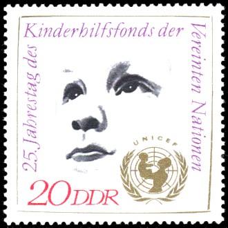 20 Pf Briefmarke: UNICEF - 25. Jahrestag des Kinderhilfsfonds