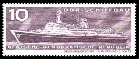 10 Pf Briefmarke: DDR-Schiffbau, Seefahrgastschiff