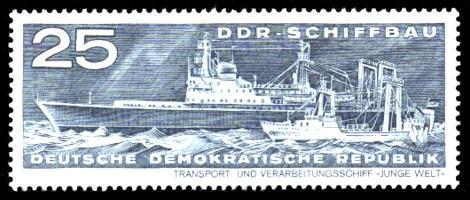 25 Pf Briefmarke: DDR-Schiffbau, Transport- und Verarbeitungsschiff