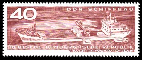 40 Pf Briefmarke: DDR-Schiffbau, Teilcontainer-Frachtmotorschiff