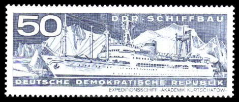 50 Pf Briefmarke: DDR-Schiffbau, Expeditionsschiff