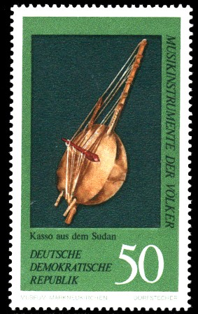 50 Pf Briefmarke: Musikinstrumente der Völker, Kasso