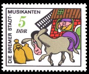 5 Pf Briefmarke: Märchen, Bremer Stadtmusikanten