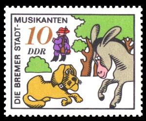 10 Pf Briefmarke: Märchen, Bremer Stadtmusikanten