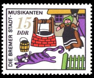 15 Pf Briefmarke: Märchen, Bremer Stadtmusikanten