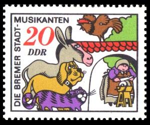 20 Pf Briefmarke: Märchen, Bremer Stadtmusikanten