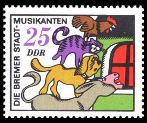 25 Pf Briefmarke: Märchen, Bremer Stadtmusikanten