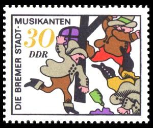 30 Pf Briefmarke: Märchen, Bremer Stadtmusikanten