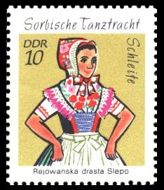 10 Pf Briefmarke: Sorbische Tanztrachten, Schleife