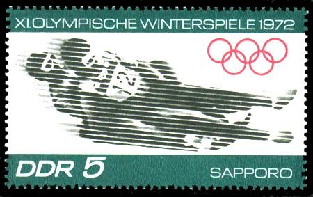 5 Pf Briefmarke: XI.Olympische Winterspiele 1972, Rennrodeln