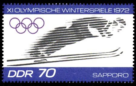 70 Pf Briefmarke: XI.Olympische Winterspiele 1972, Skispringen