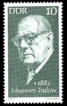 10 Pf Briefmarke: Bedeutende Persönlichkeiten, Johannes Tralow