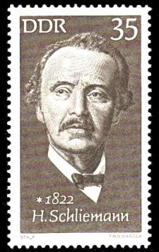 35 Pf Briefmarke: Bedeutende Persönlichkeiten, Heinrich Schliemann