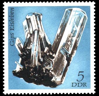 5 Pf Briefmarke: Mineralfunde aus der DDR, Gips