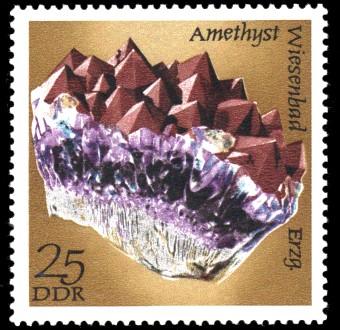 25 Pf Briefmarke: Mineralfunde aus der DDR, Amethyst