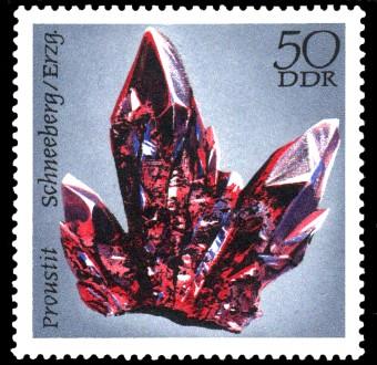 50 Pf Briefmarke: Mineralfunde aus der DDR, Proustit