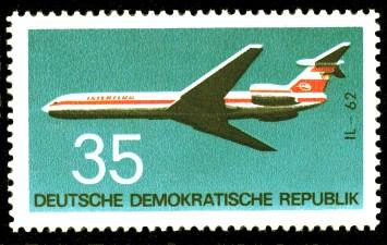 35 Pf Briefmarke: Flugzeugtypen, IL-62